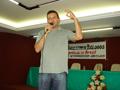 """Biólogo Rômulo Gil de Luna proferindo palestra """"O Homem, a Biosfera e seus Impactos Ambientais""""."""